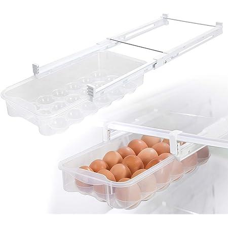 Smart Design Refrigerator Pull Out Carton Bin Holder & Home Organizer - Extendable Rails - BPA Free Plastic Container Fridge Freezer Food Storage - Kitchen Organization (Egg) Clear - Set of 2