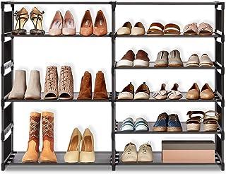 Range-Chaussures pour Penderie, Etagère à Chaussures, Meuble de Chaussures, Porte-Chaussures en Metal Tissu Intissé, 6 Cou...
