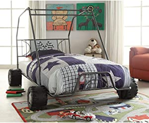 Merax Twin Size Bed Frame, Racer Kart Car Design Metal Twin Bed with Headboard, Metal Tube Support Slat System, No Box Spring Needed, Furniture for Kids Boys Girls Bedroom (Gunmetal)