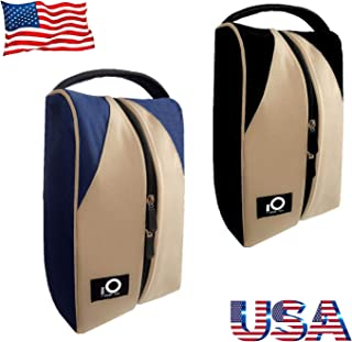 Golf Shoe Bag Men Women, Deluxe Canvas Zipper Tote Large Travel Organizer, Basketball Soccer Gym Pack Can Hold Nike FJ Adidas Ecco Puma Shoes