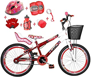 52c8eab1d Bicicleta Infantil Aro 20 Vermelha Branca Kit E Roda Aero Vermelho C Cadeirinha  de Boneca