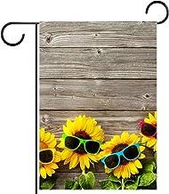 Tuin Vlag Verticale Dubbelzijdige 28x40 inch Yard Outdoor Decoration.3d houten plank bloem met zonnebril