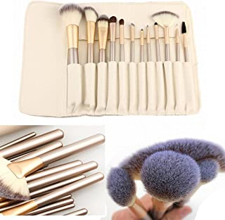 ShineMore Makeup Brush Set Perfect Gift For Ladies (12 PCs come with a soft leather bag) (Milk White)