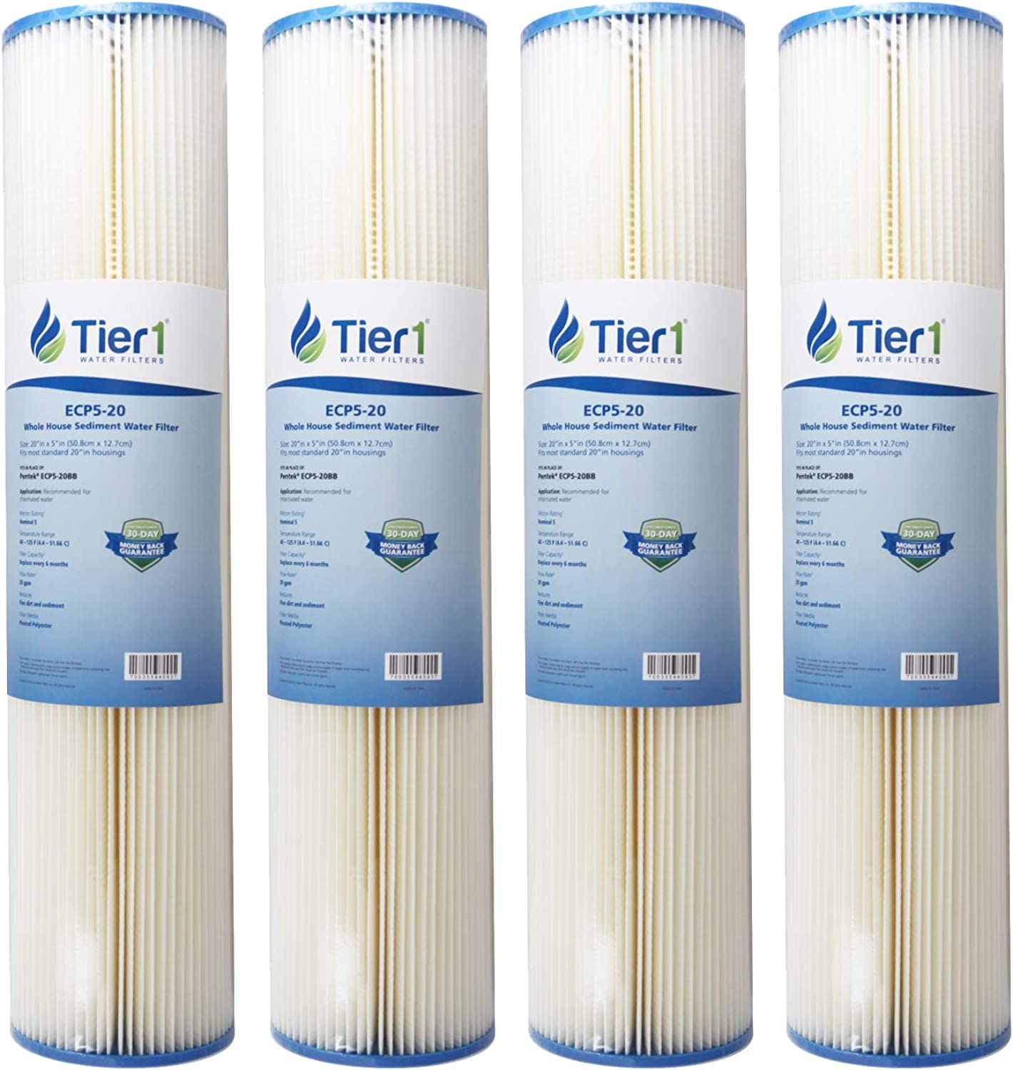 Tier1 Replacement for Pentek ECP5-20BB 5 Micron 20 x 4.5 Pleated Cellulose Sediment Water Filter 4 Pack - Not for Well Water