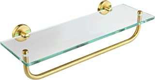JQK Bathroom Glass Shelf, Shelf with 16 Inch Towel Bar Tempered Glass Shower Storage 16 by 5 inches, 304 Stainless Steel Brushed Gold Wall Mount, TGS100-BG
