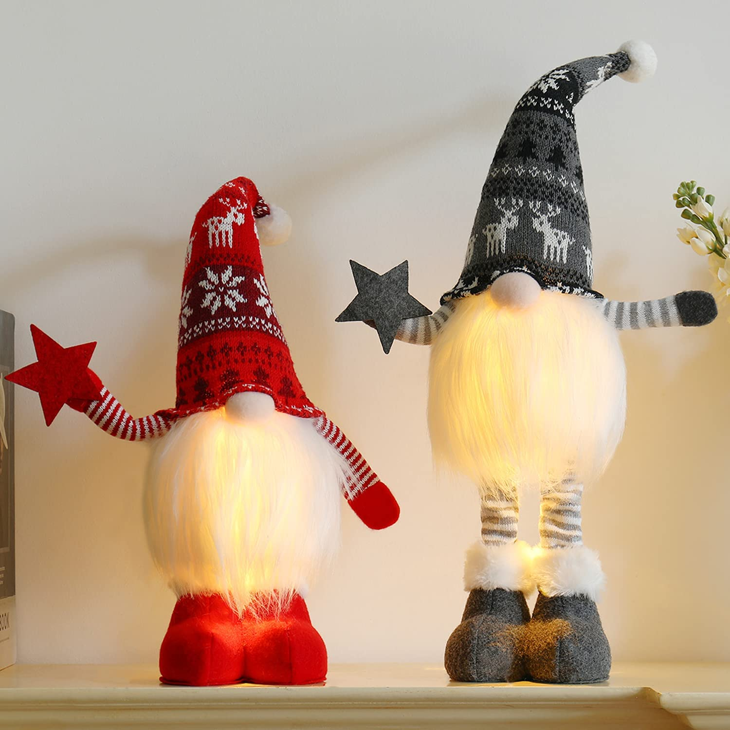 2pc Lighted Standing Christmas Gnomes Decorations with Retractable Spring Legs Light up Christmas Knome Gift for Home Decor