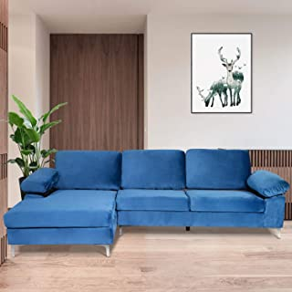 DKLGG Sectional Couch, Modern Classic Upholstered Sectional Sofa Futon Couches, Sectional Sofas for Living Room(Navy Blue)