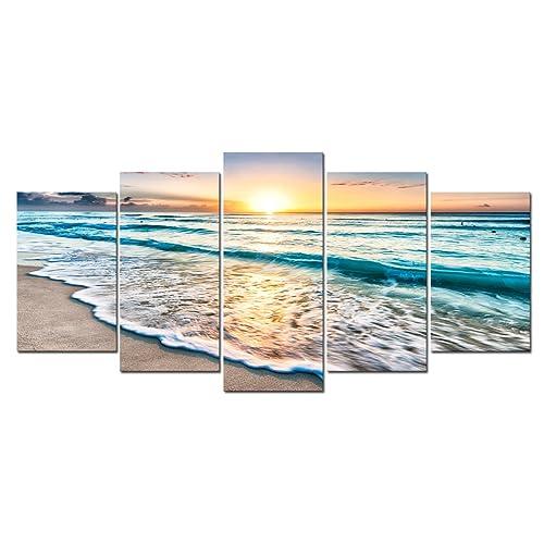 4d6954a128e Cao Gen Decor Art-S58829 5 Panels Framed Wall Art Sunset Ocean Printed on  Canvas