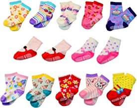 Lystaii 12 Pairs Anti-slip Soft Cotton Baby Kid Socks for 1-3/12-36 Months Years Baby 3.5''-4.7'' Cute Cartoon Boys Girls Toddler Socks Random Color Non-Skid Knit Infants Socks