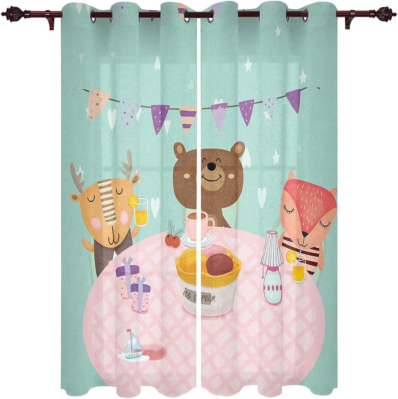 Year-end annual account Grommet Curtain Panel Treatment Animal Cartoon Gathe Max 64% OFF Children's