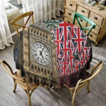 ScottDecor Christmas Tablecloth Union Jack UK Flags Background with Big Ben Festive Celebrations Loyalty Pale Coffee Navy Blue Red Patterned Round Tablecloth Diameter 70