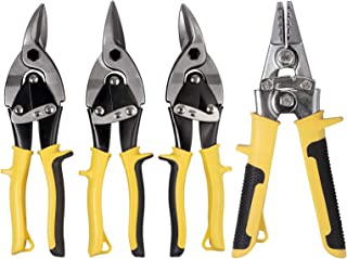 huiqixian 3 Pieces Aviation Tin Snips + 3 in Straight Metal Hand Seamer Set Cutting Shears Left, Straight, Right Cut Snippers with Forged Blade for Cutting Metal Sheet Hard Meterial