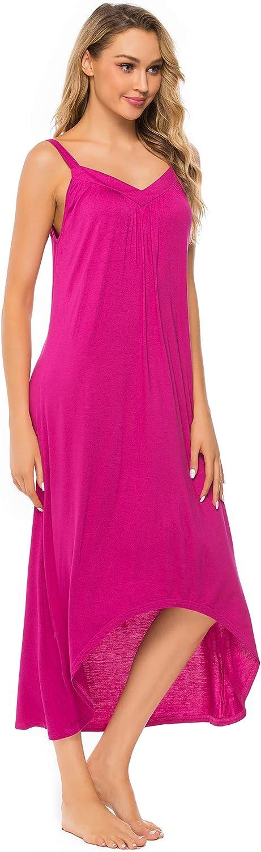 FINWANLO Nightgowns for Women Sleeveless Long Sleepwear Cotton V Neck Full Slip Nightshirt Chemise Lounge Dresses