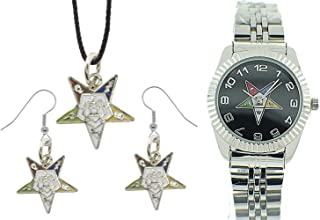 3 Piece Jewelry Set - Order of the Eastern Star Pendant, Hook earrings & Order of the Eastern Star Masonic Watches. OES Symbol on Silver Color Steel Band Black Face Dial