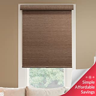Chicology Deluxe Free-Stop Cordless Roller Shades, No Tug Privacy Window Blind, Felton Truffle (Privacy & Natural Woven), 27