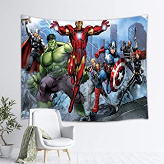 YCLQCTPART Hulk Iron Man Spider-Man Captain America Superhero Custom Tapestry,Comics Theme Wall Hanging for Bedroom Living Room Dorm, 60 X 50 Inch