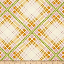 Summer Plaid Tangerine from the Up Parasol collection by Heather Bailey for FreeSpirit Fabrics - Green Orange (Half yard)
