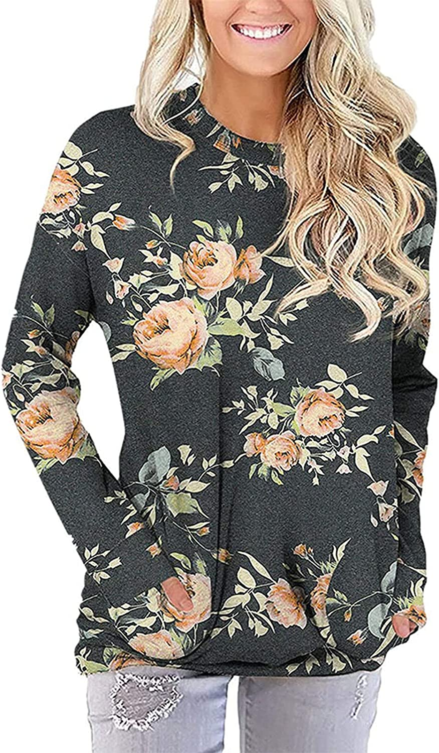 Women Pullover Floral Print O-Neck Long Sleeve Autumn Winter Warm Comfy Blouses Pockets Decorative Tops
