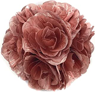 Ben Collection Fabric Artificial Flowers Silk Rose Pomander Wedding Party Home Decoration Kissing Ball Trendy Color Simulation Flower (Rose Gold, 20CM)