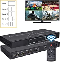 HDMI 4X1 Quad Multi-Viewer, 1080P 4 in 1 Out HDMI Screen Switch with 5 Modes, Seamless Switch for Game Studio, Exhibition Hall, Video Meeting, Stock Market, Display Mall etc.