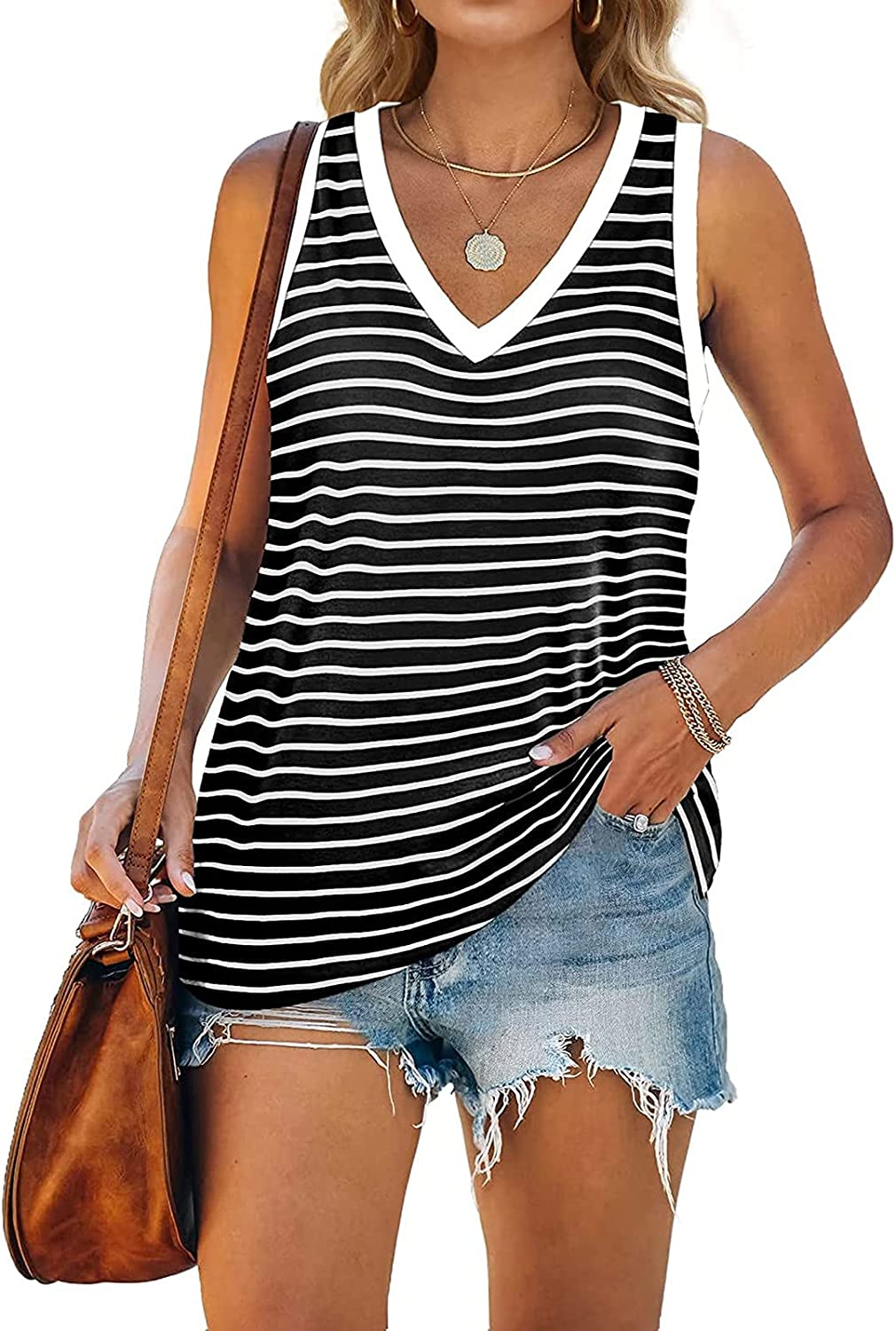 Tank Top for Women, Tank Tops Womens Stripe Loose Fiting Sling Summer Tee Shirts Sleeveless Shirts for Women Casual Summer