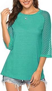 Women's 3/4 Raglan Lace Sleeve Crewneck Blouses T-Shirt Tunics Tops