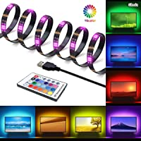 Tira LED, Gluriz LED Tira de TV, Tiras de Luces LED RGB 2M 60LEDs Impermeable USB Tira de LED Retroiluminación de TV con...