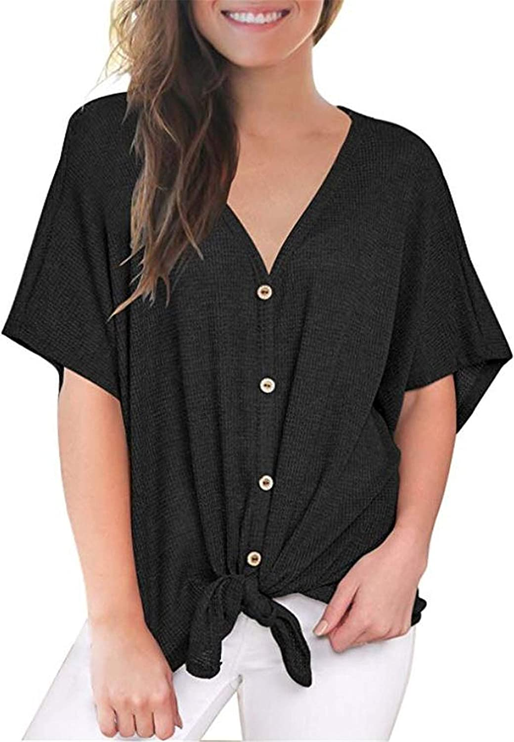 UGET Womens Loose Blouse V Neck Button Down T Shirts Tie Front Knot Top Casual Summer Shirt