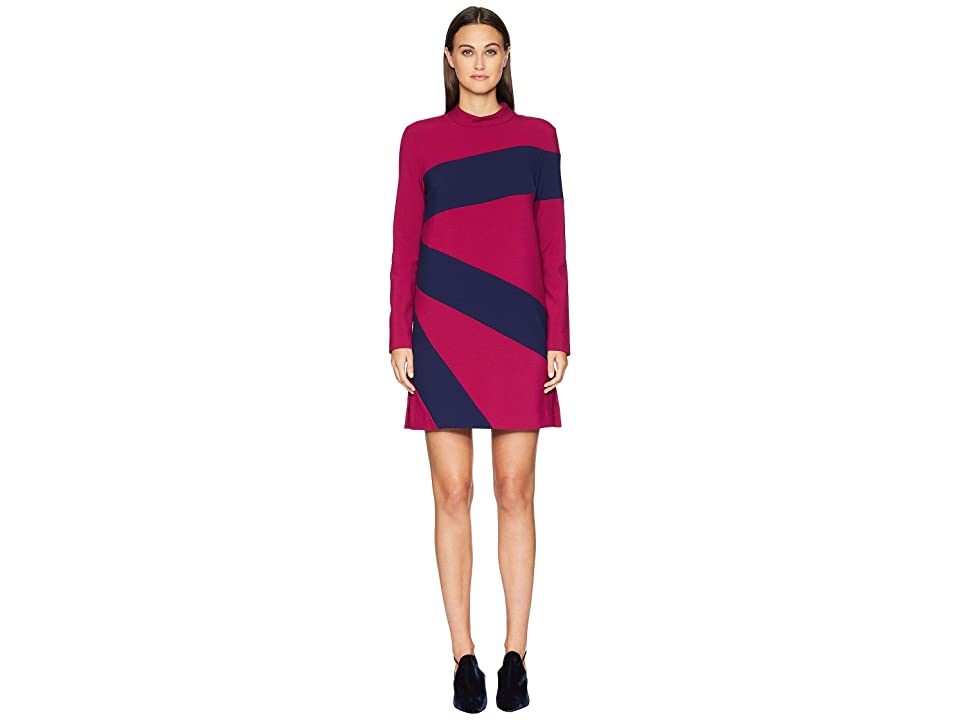 Nicole Miller Color Blocked Dress (Rose Pink/Navy) Women