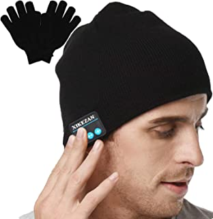 XIKEZAN Upgraded Unisex Knit Bluetooth Beanie Hat Headphones V4.2 Unique Christmas Tech Gifts for Men/Dad/Women/Mom/Teen Boys/Girls Stocking Stuffer w/Built-in Stereo Speakers (Black)