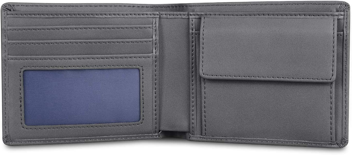 Wallets for Men Leather RFID Blocking Bifold Slim Money Clip Checkbook Credit Card Holder Wallet Grey with 2 ID Window