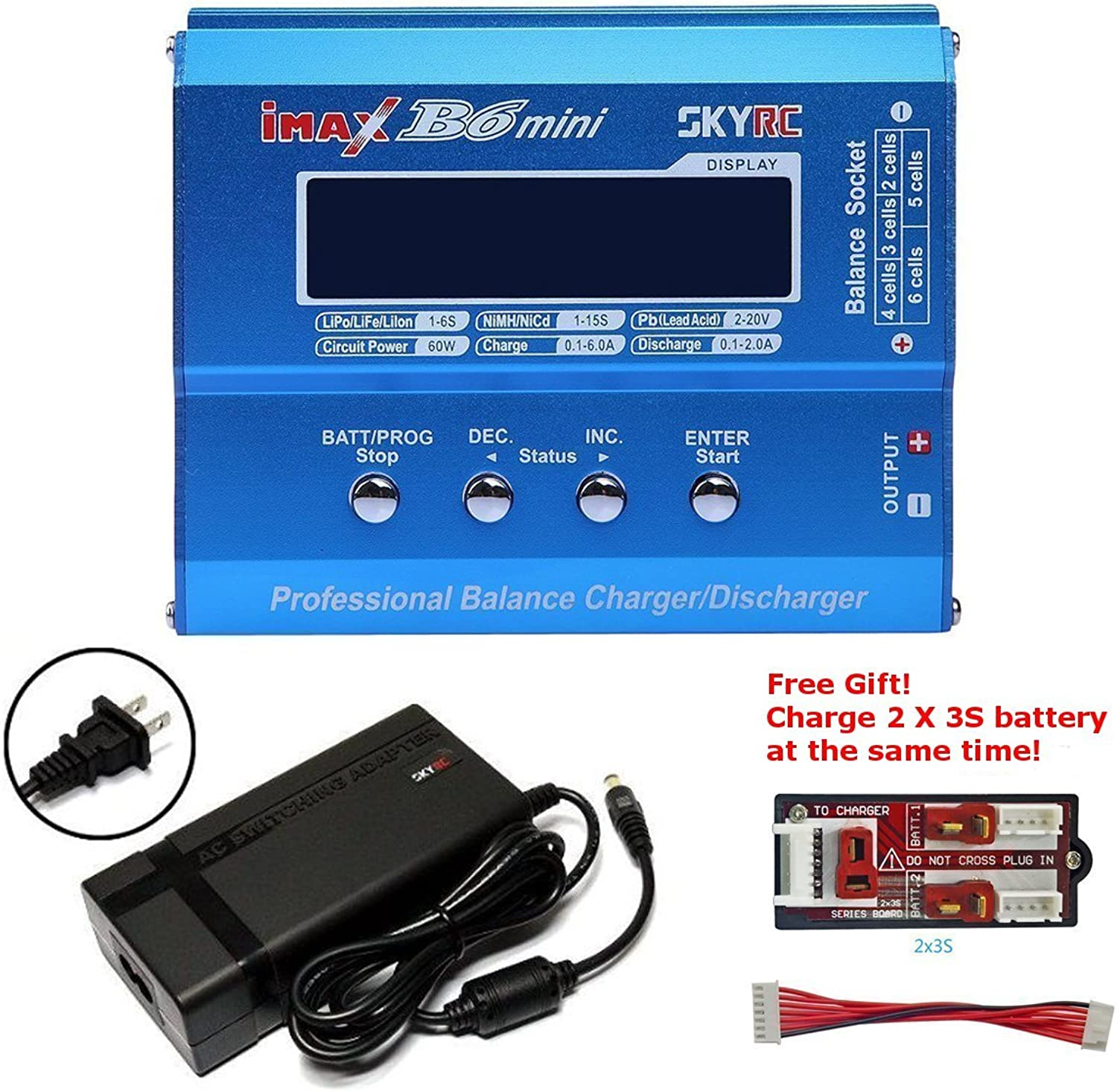 SKYRC iMAX B6 Mini Professional Balance Charger Discharger for Nimh Lipo Batteries+SKYRC RC Model AC DC 15V 4A Battery Charger Power Supply Adapter (US Plug)