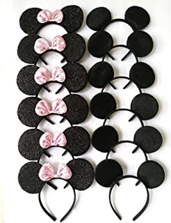 CHuangQi Hair Accessories Mickey Mouse Ears Solid Black and Pink Sequins Bow