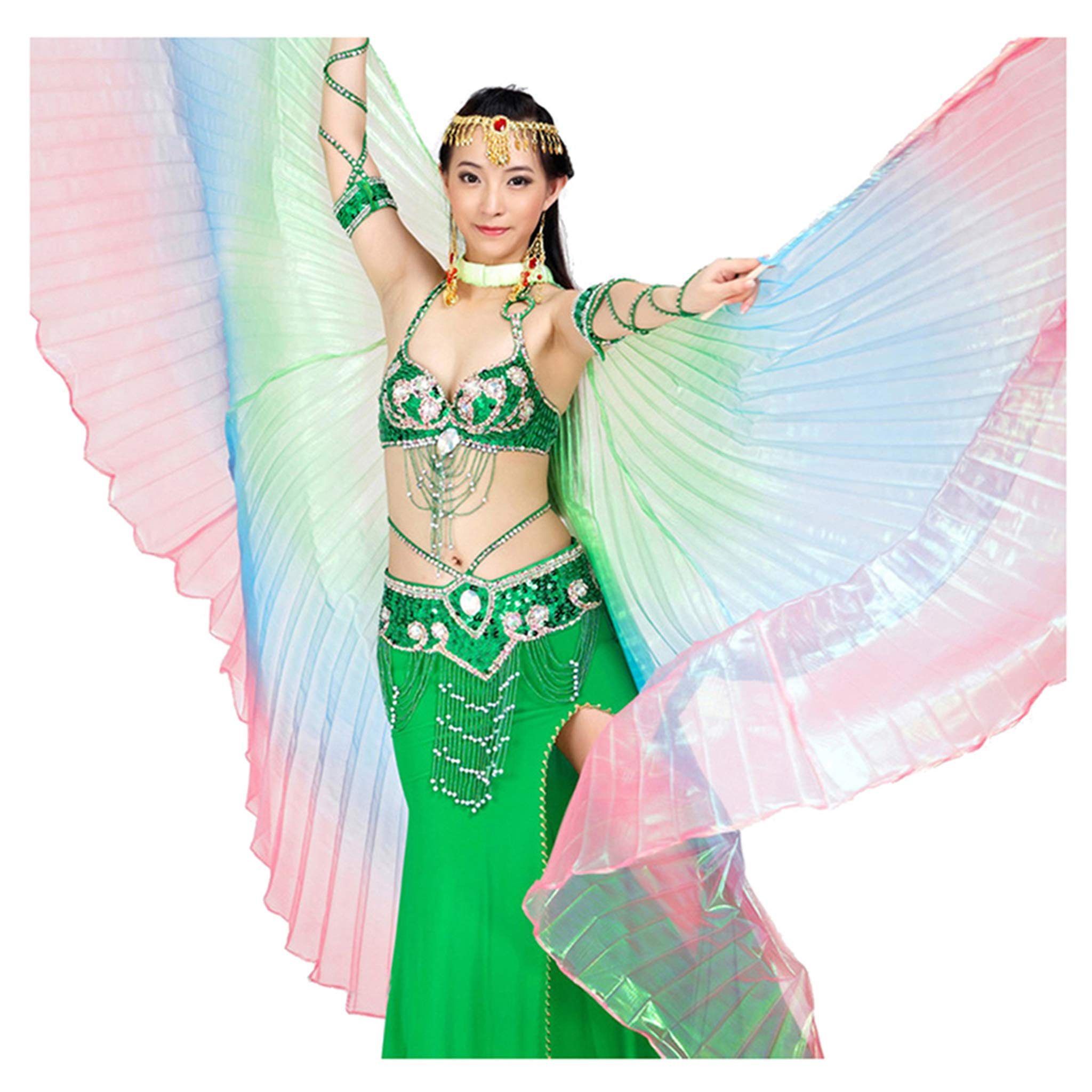 Belly Dance Costume Gradient Color Colorful Angel Isis Wings yellow /& red /& blue