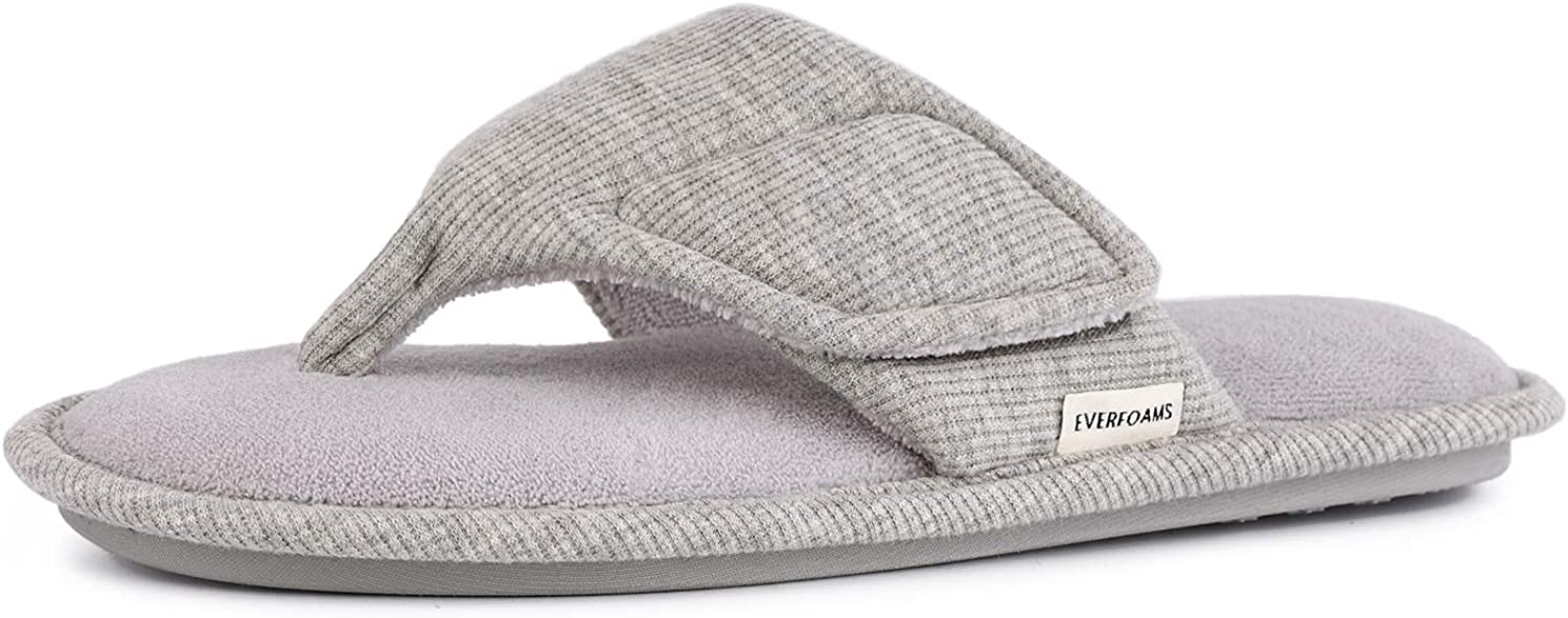 EverFoams Women's Comfy Open Toe Thong Spa Slippers with Adjustable Hook and Loop