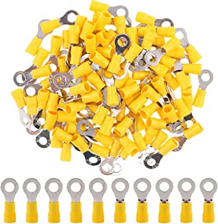 Hilitchi 100Pcs 12-10AWG Insulated Terminals Ring Electrical Wire Crimp Connectors (Yellow - M6) (Yellow - M6)