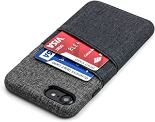 Dockem Luxe Wallet Case for iPhone 8 and 7 - Slim Synthetic Leather Card Case with UltraGrip Twill Canvas Styling: Professional Executive Cover with 2 Card Holder Slots [Black and Grey]