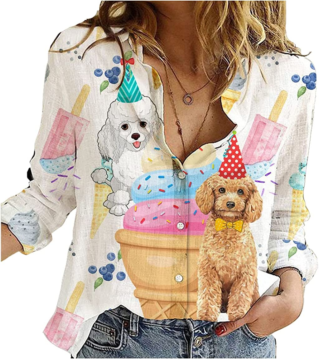 Poodle Cotton Linen Shirt Dog and Ice Cream Womens Long Sleeve Button Down Cotton Linen Shirt Blouse Loose Fit Casual V-Neck Tops Full Size