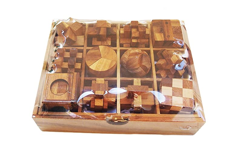 CMStar Twelve Brain Teasers with The Puzzle Showcase, 12 Wooden Game Gift Set, Handmade Wooden Puzzles for Adults, Set B qtramvgc146134