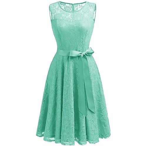 1c48b9b0ab4c Dressystar Women's Floral Lace Dress Short Bridesmaid Dresses with Sheer  Neckline