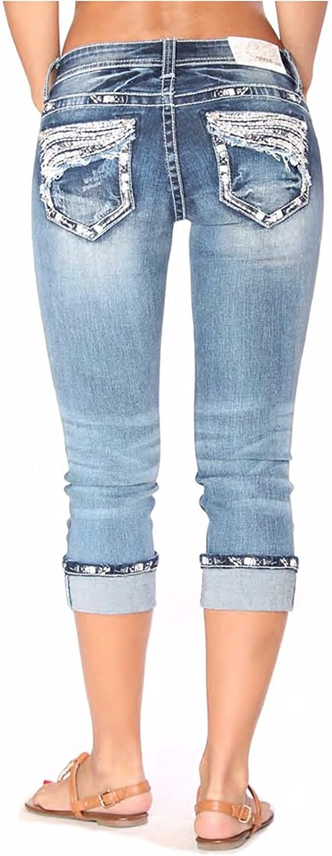 Grace in LA Mid Rise Easy Capri Cuffed Rhinestone Embellished Cropped Stretch Jeans