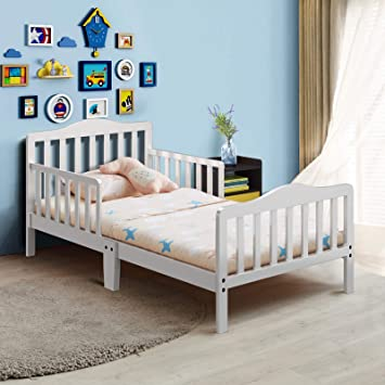 Amazon Com Costzon Toddler Bed Classic Design Rubber Wood Kids Bed W Double Safety Guardrail For Children Bedroom Furniture Kids Room Parent Room Fits Crib Mattress Gift For Toddler Boys Girls White