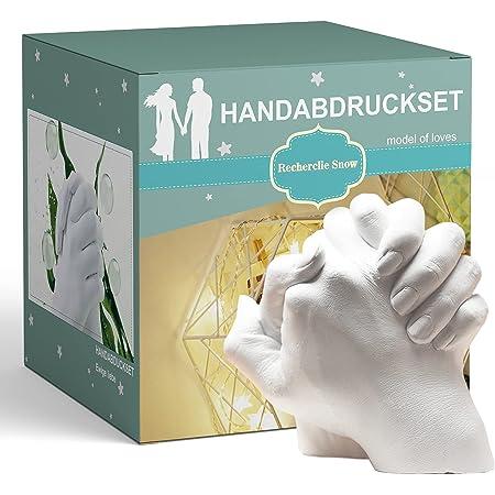 Recherclie Snow® Kit d'empreintes de mains en plâtre 3D pour couple de famille, cadeau d'anniversaire pour petite amie ou mari, cadeau personnalisé pour les amis et les enfants