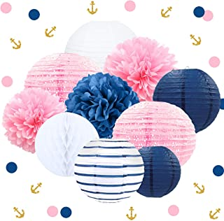 NICROLANDEE Nautical Pink Navy Blue Party Decoration Kit Baby Shower Hanging Paper Lantern Party Confetti Tissue Pom Poms Flowers for Bridal Shower Wedding Birthday Hen Party(Blue and Pink)