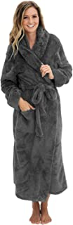 Women's Warm Fleece Robe with Hood, Long Plush Bathrobe