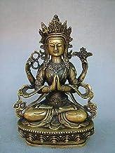 Sculpture Statue Ornaments Statues Sculptures Chinese Brass Bronze Tibet Four Arm Guanyin Buddha Statue