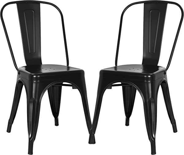 Poly And Bark Trattoria Kitchen And Dining Metal Side Chair In Black Set Of 2