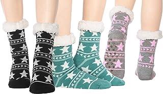 3 pares de calcetines de invierno para interior y exterior con suela de ABS y forro de peluche.