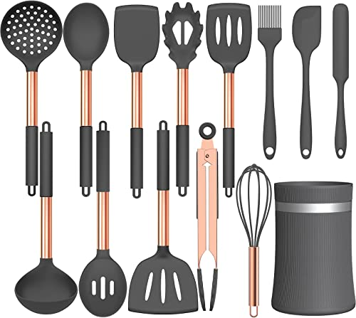 2021 Umite discount Chef 14 pcs Silicone Cooking Utensils Kitchen Utensil Set - 446°F Heat Resistant, Kitchen Gadgets Tools Set with Stainess Steel new arrival Handles for Non-stick Cookware(Grey) online sale