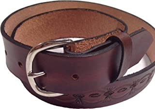 Handmade Mens Leather Belt Brown Crowsfoot Design Western Work Casual Belt 1.5